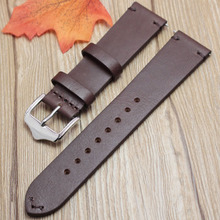 цена на HENGRC New Design Vintage Watchbands 18mm 20mm 22mm Dark Brown Genuine Cowhide Leather Strap Stainless Steel Polished Buckle