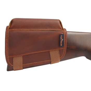 Tourbon Hunting Rifle Gun Cheek Rest Riser Pad Buttstock Left Hand Genuine Leather W/Ammo Cartridges Holder Shooting Accessories 3