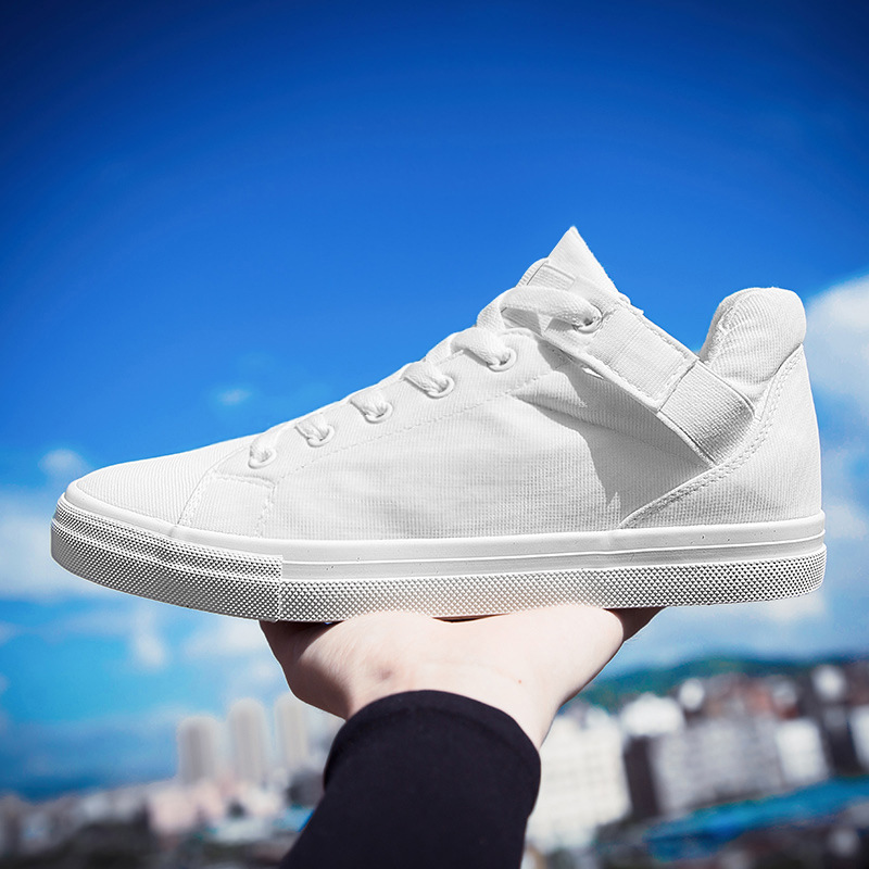 New 2018 Fashion Solid White Black Canvas Shoes Lace Up Breathable Men's Sneakers Mens Flats Height Increasing Spring Autumn height increasing spring autumn new canvas female women s platform shoes full black fashion shoes