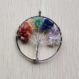 Image 3 - Wholesale 12pcs/lot fashion 7 chakra stone Tree of life handmade wire wrapped Pendants 50mm for jewelry accessories marking free