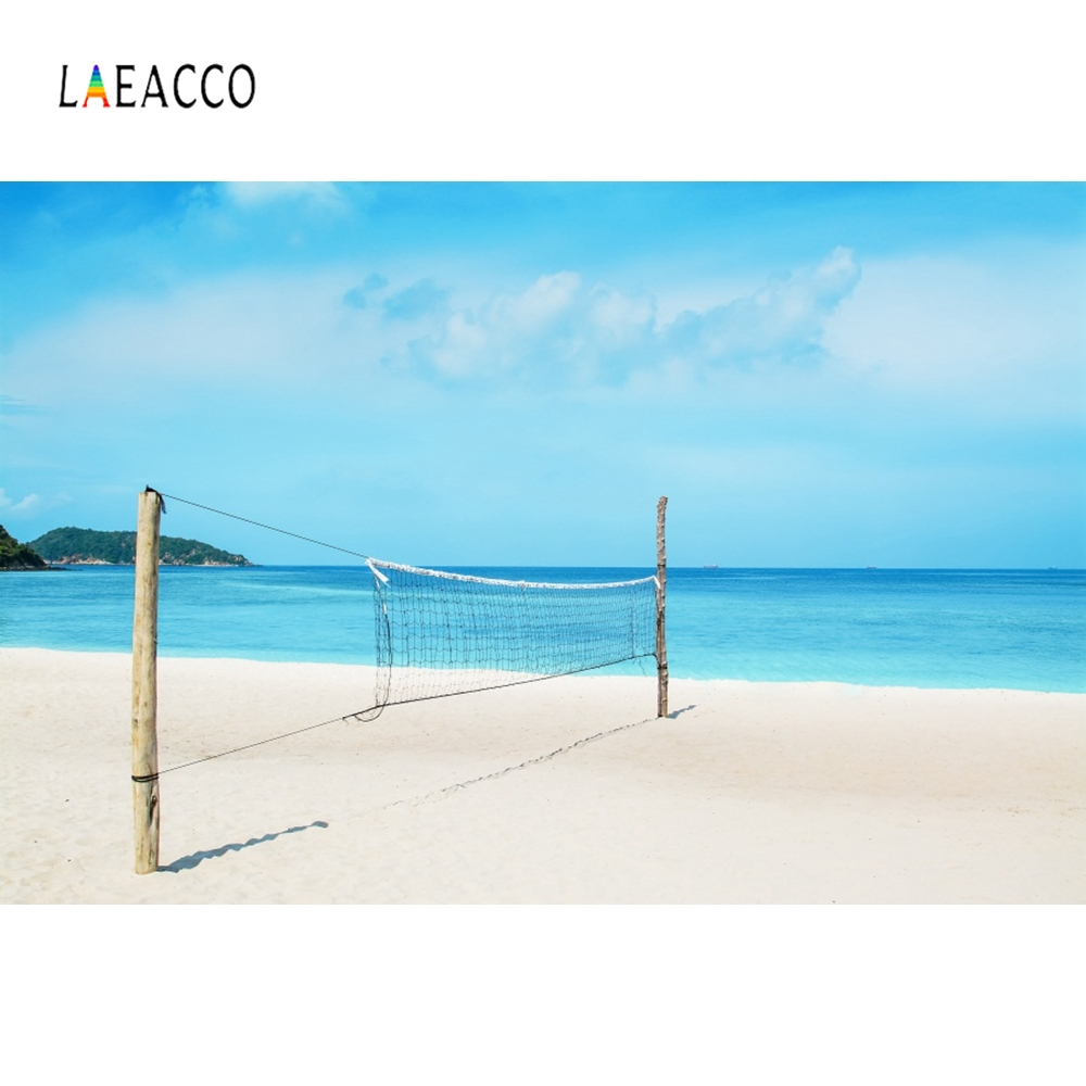 Laeacco Sea Beach Blue Sky Volleyball Net Photocall Photography Background Customized Photographic Backdrops For Photo Studio