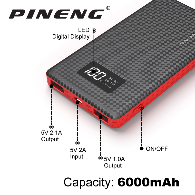 Pineng Power Bank 6000mAh LED External Battery Portable Mobile Fast Charger Dual USB for iPhone 5