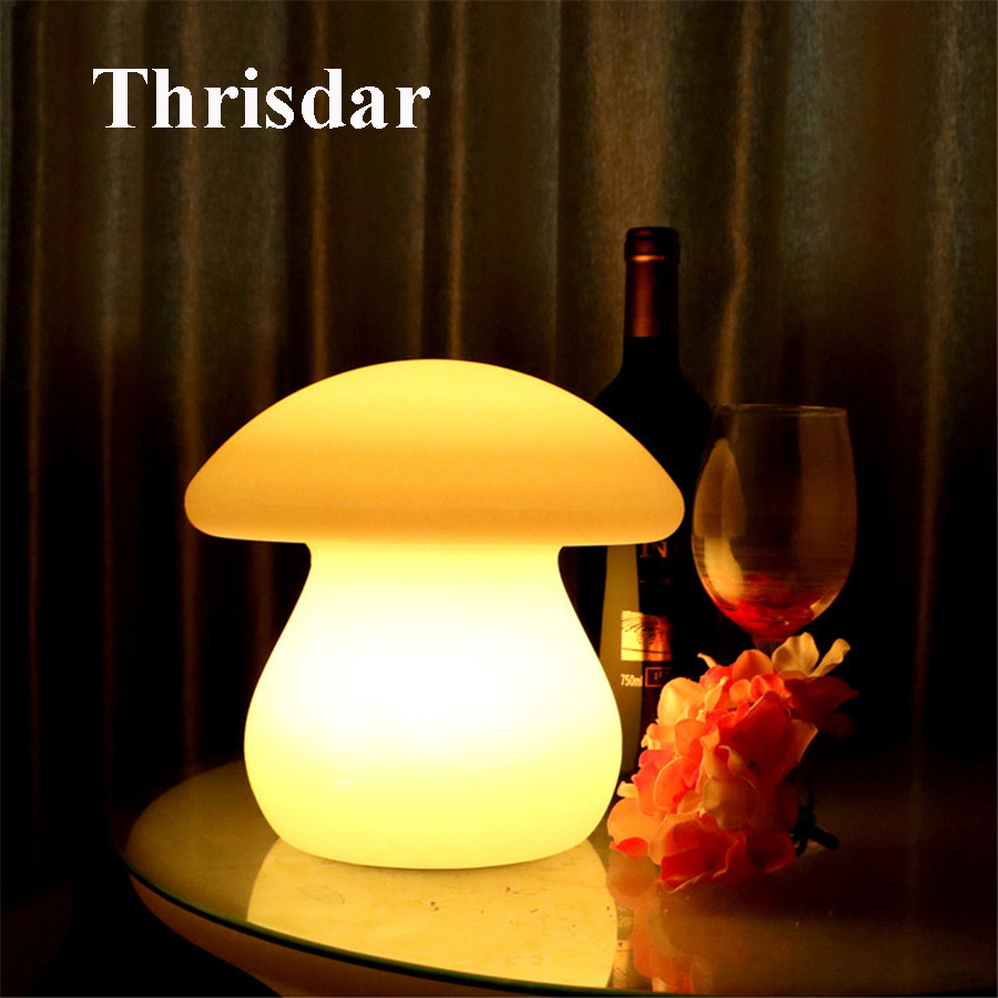 Thrisdar 16 Color Mushroom LED Night Light With Remote USB Rechargeable Baby Sleeping Lamp Kids Children Beside Table Lamp beiaidi 7 color usb rechargeable rabbit led night light dimmable animal cartoon light with remote baby kids christmas gift lamp