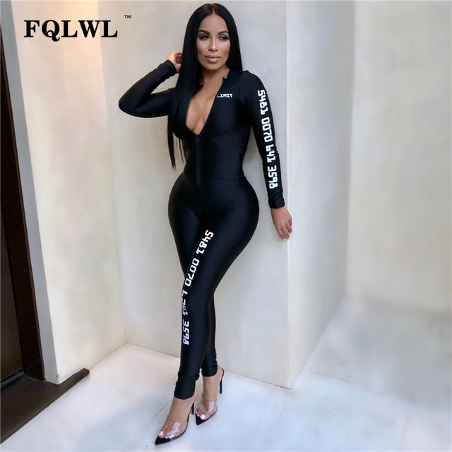 09059ca83b FQLWL Long Sleeve Black Bodycon Female Jumpsuit For Women Playsuit Letter  Print Zipper Skinny Rompers Womens Jumpsuit Overalls