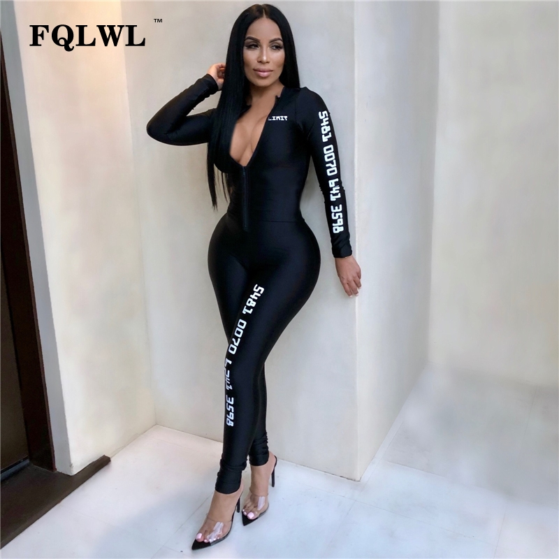 FQLWL Long Sleeve Black Bodycon Female   Jumpsuit   For Women Playsuit Letter Print Zipper Skinny Rompers Womens   Jumpsuit   Overalls