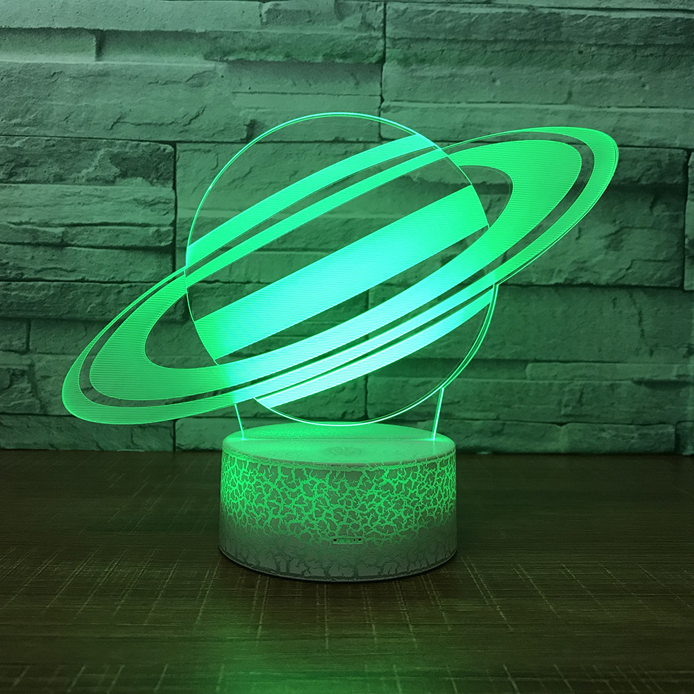 US $13 79 40% OFF|Universe Saturn Night Light Lamp 3D Sky Planet LED Lamp 7  Colorful Table Lamp For Kids Christmas Gift White Base Touch Switch-in LED