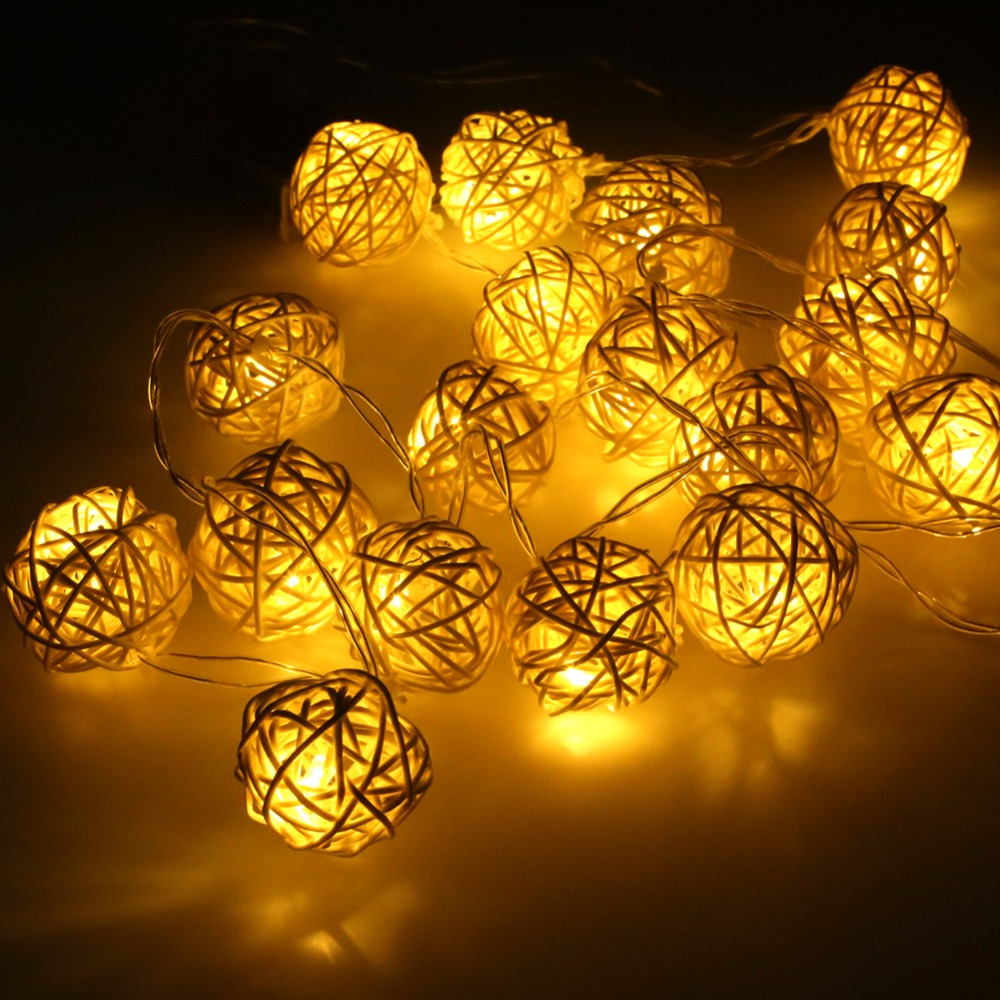 Us 4 74 5 Off 20 Led Rattan Ball Garland Holiday Lighting Strings Warm White Home Wedding Party Christmas Decoration In