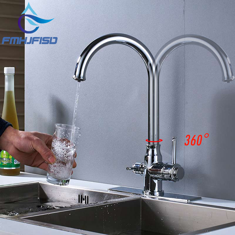 Kitchen Faucet Pure Drinking Faucet Mixer Tap Deck Mounted Dual Handle Crane Torneira все цены