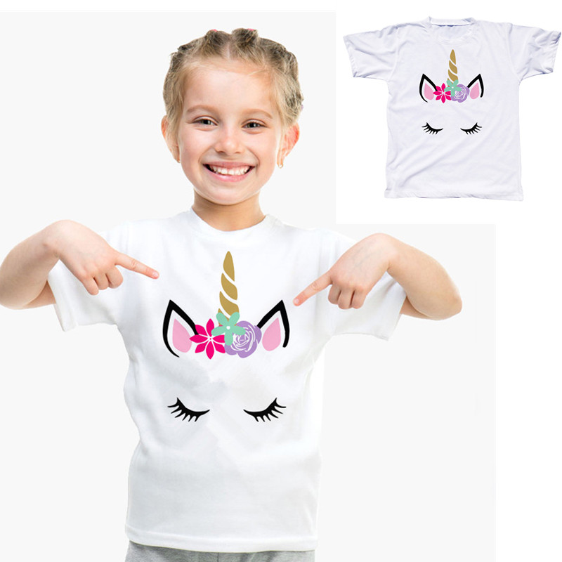 Girl T-Shirt Comfy-Clothes Toddler Clothing Tees Tops Short-Sleeve Unicorn White Baby-Boy