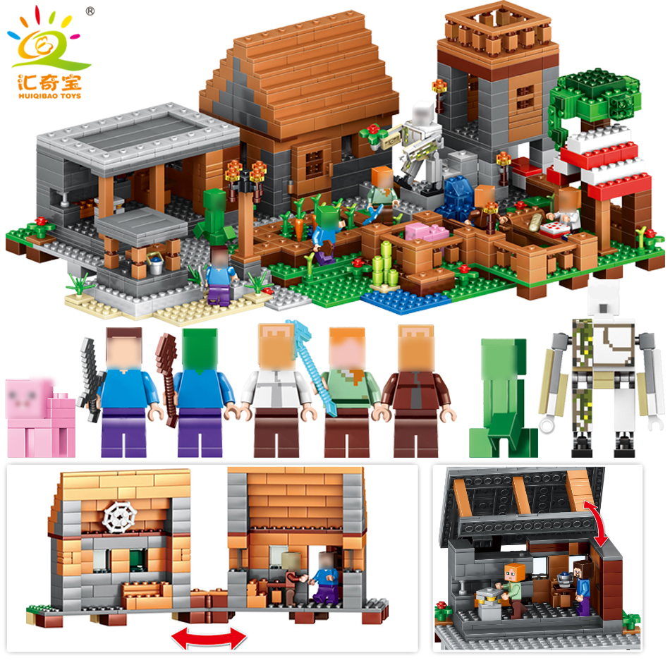 MY World Village Steve Figures Building Blocks Compatible Legoed Minecrafted Mountain Cave Educational Classic toys for children smartable building blocks of my world minecrafted lepin 4in1 steve with weapon figures brick model toys for children gift lr 823
