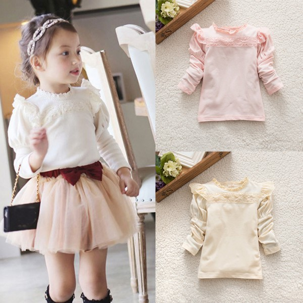 Children Girls Lace Collar Cotton Bottoming T-shirts Blouse Long Sleeve Shirts Tops 0-4Y
