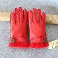 100% Real de piel de Oveja Hembra de piel de invierno dedo guante súper espesar moda cálida sólido adultos hechos a mano guantes de cuero transpirable