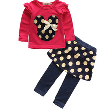 New year Kids clothes Girls clothing sets winter Outfits Minnie mouse costume tracksuit Cotton Tops + skirt + Pants hot sale(China)