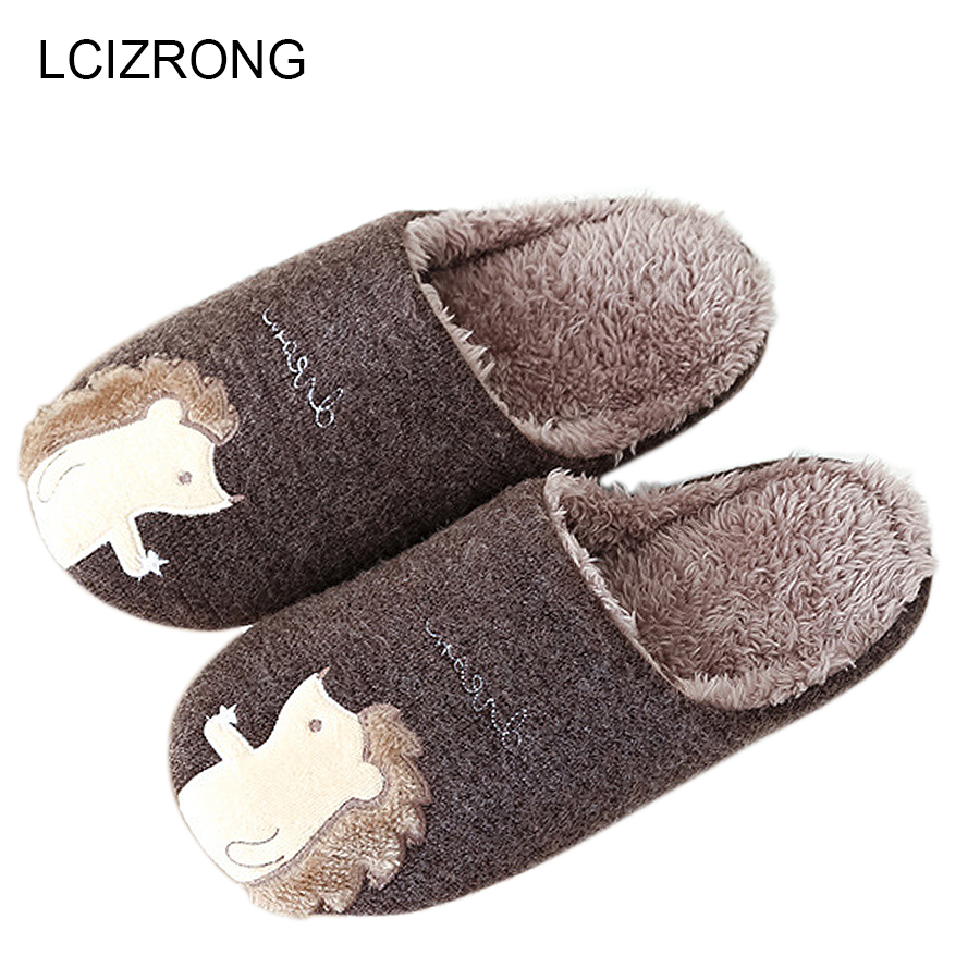 LCIZRONG New High Quality Hedgehog Harajuku Women Slippers Cotton Warm Snow Winter Home Slippers Woman Men Indoor Shoes Kid high quality new autumn winter velvet ladies slippers women indoor rubber sole waterproof skid warm shoes woman zapatillas emoji