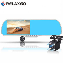 Relaxgo 5″ android touch rearview mirror car camera wifi gps navigator full hd 1080p car dvr dual lens parking  video recorder