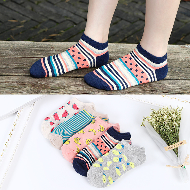 Colorful fruit Invisible Short Woman Sweat summer comfortable cotton girl women's boat   socks   ankle low female 1pair=2pcs ws175