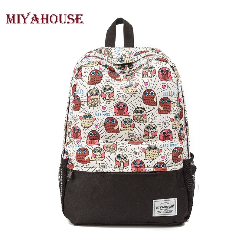 Miyahouse Fashion Cute Owl Backpack Women Cartoon School Bags For Teenagers Girls Canvas Bookbags Women Backpack