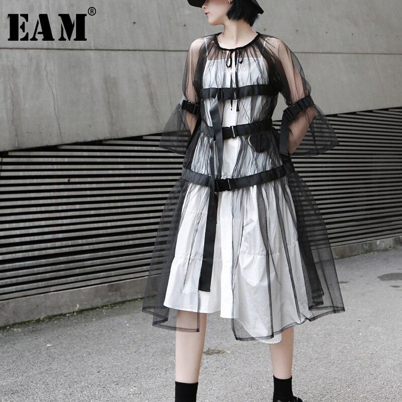 [EAM] Loose Fit Black Long Waist Bandage Woolen Coat Parkas New Lapel Long Sleeve Women Fashion Tide Autumn Winter 2019 LA963