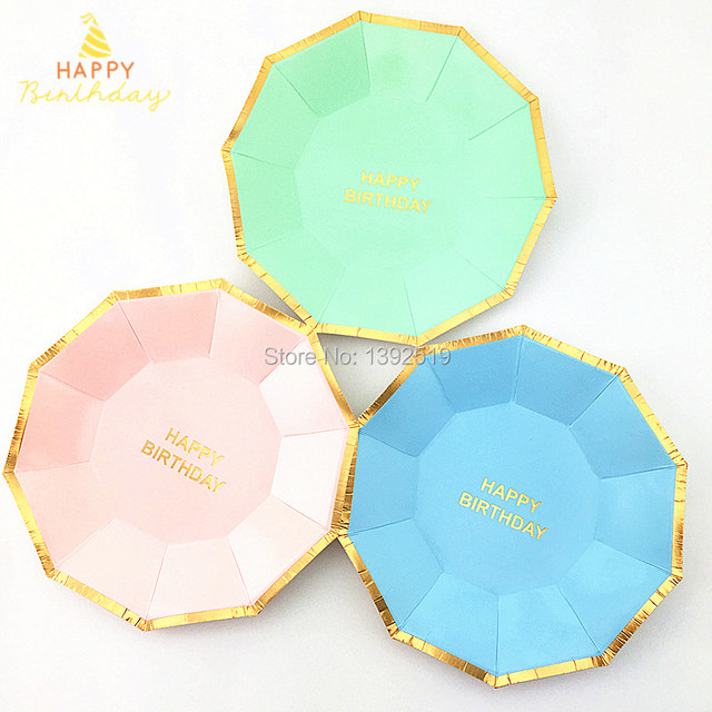 Free Shipping 160Pcs 7  Colored Dishes Party Paper Plates For Birthday Party With Shiny Gold  sc 1 st  AliExpress.com & Free Shipping 160Pcs 7
