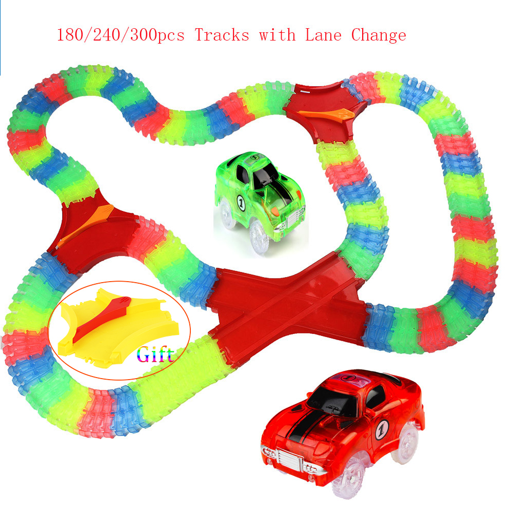 180-300 Pcs Plastic Car Ramp Bend Flex Glow in the Dark Assembly Toy Race Track Set + 1pc Lane Change For Education Kids Gift