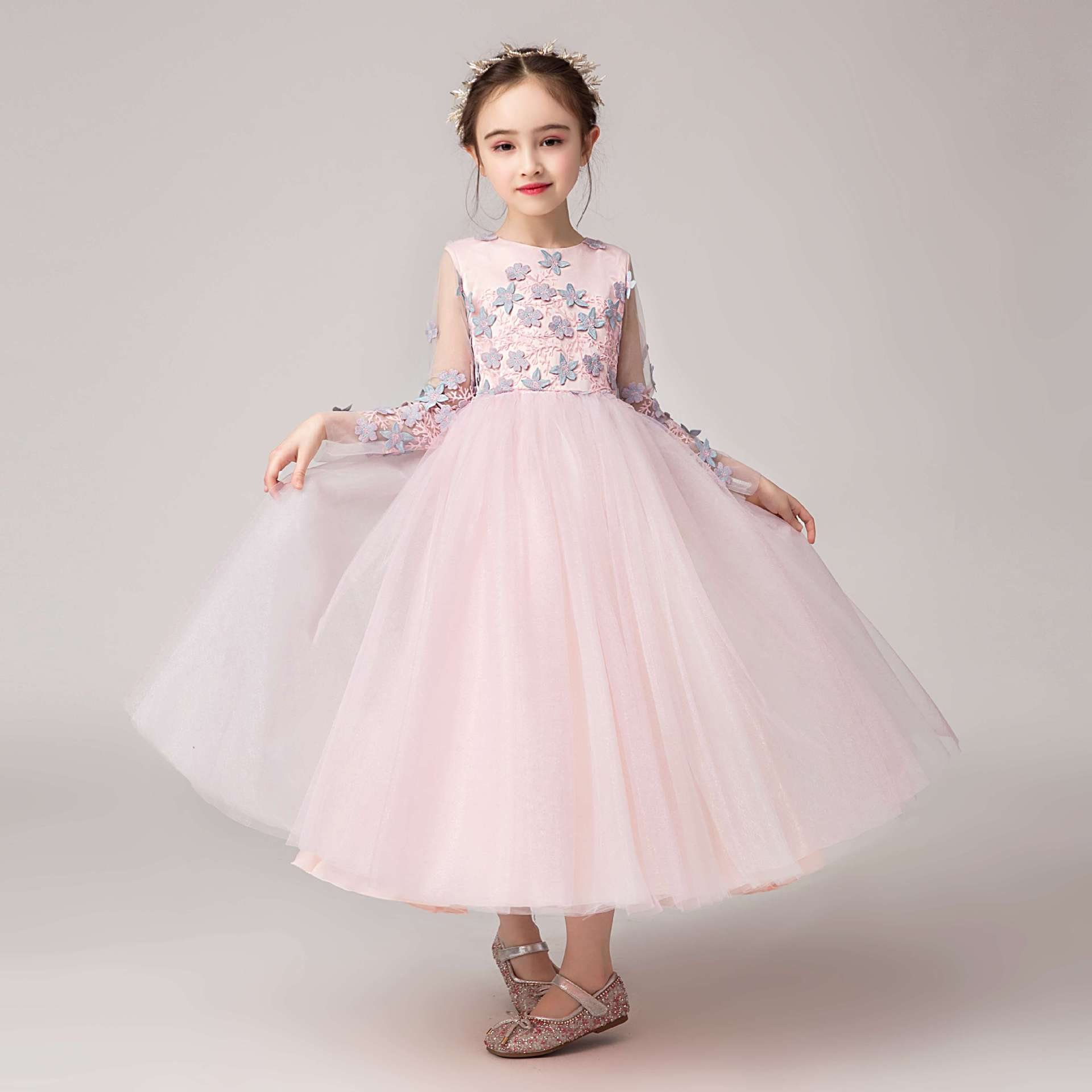 Vintage   Flower     Girl     Dresses   For Weddings Blush Pink Custom Made Princess Tutu Appliqued Lace Bow Kids First Communio   Dress