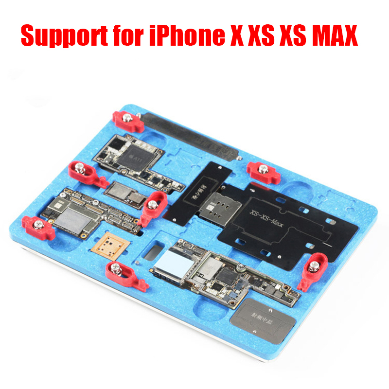 High Temperature Resistance PCB Holder Fixture Work Station for iPhone X XS XS MAX Motherboard Planting Tin With BGA Stencil logic board planting tin fixture with solder paste bga stencil for iphone x motherboard bga reballing stencil repair tools