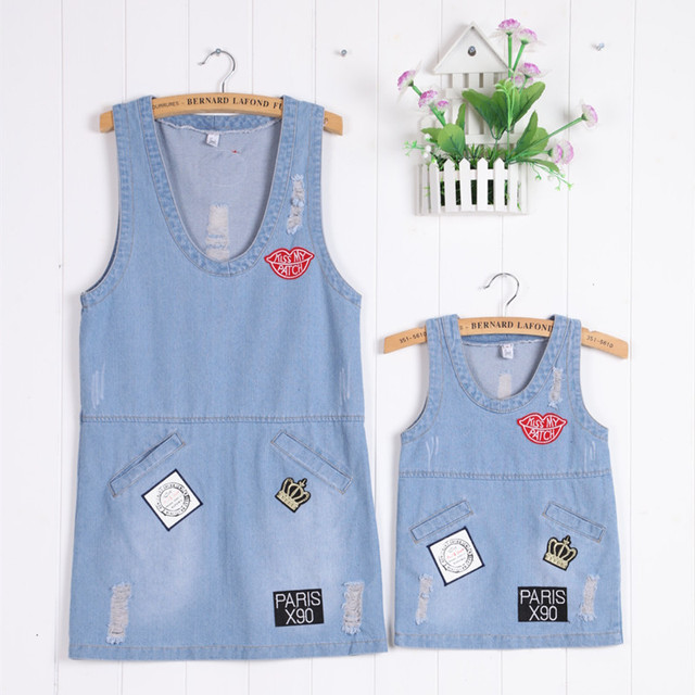 Fashion Matching Mother Daughter Clothes Set Family Matching Outfits sleeveless denim vest Dress Mother and Daughter Dress