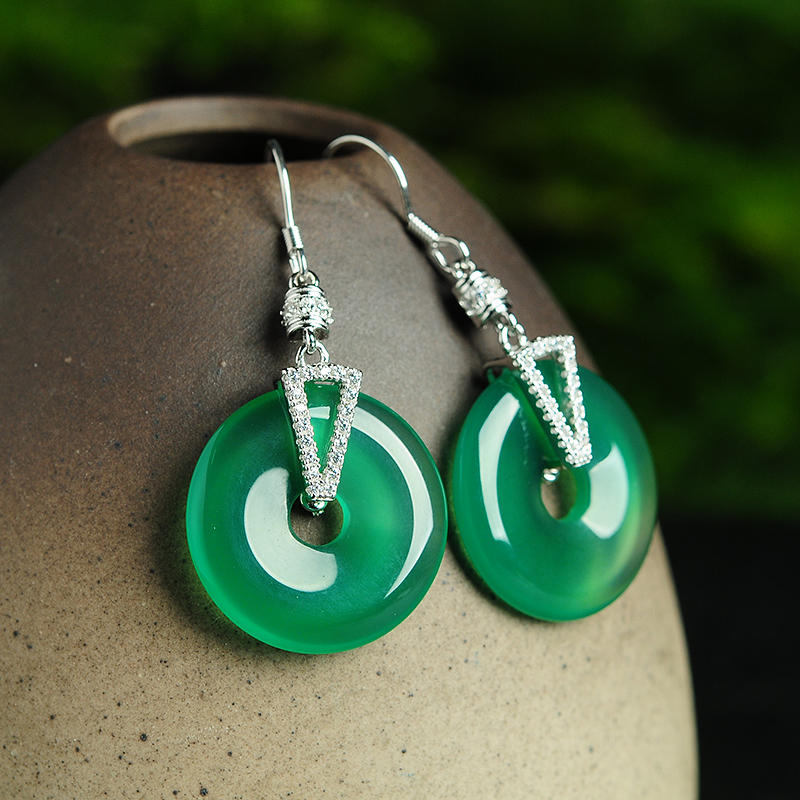 Natural A Grade Natural /Jadeite Round Circle With 925 Silver Drop Earrings Certificate alloy bead chain circle drop earrings