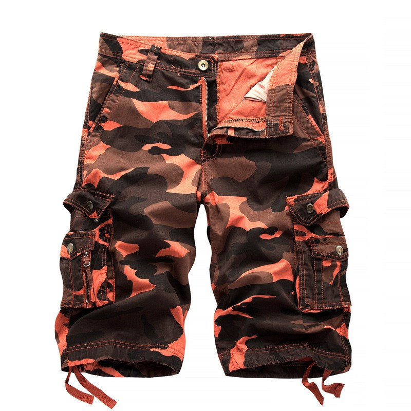 2017 Summer Mens Cargo Shorts Casual Loose Short Pants Army Camo Camouflage Multi-pockets Zipper Military Men Overalls