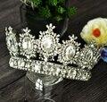 2016 Chique Real Rei Homem Mulher de Prata de Strass Nupcial Coroa Cheia Enorme Gigante Bizantino Luxo Para O Casamento