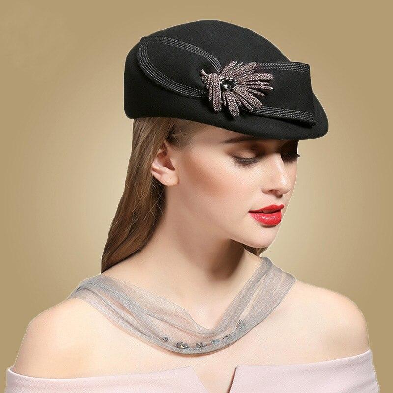 7f52251bb FS Black Wool Winter Hats For Women Beret With Rhinestone French Hat Berets  Femme Hiver Felt Flowers Warm Caps Stewardess Cap