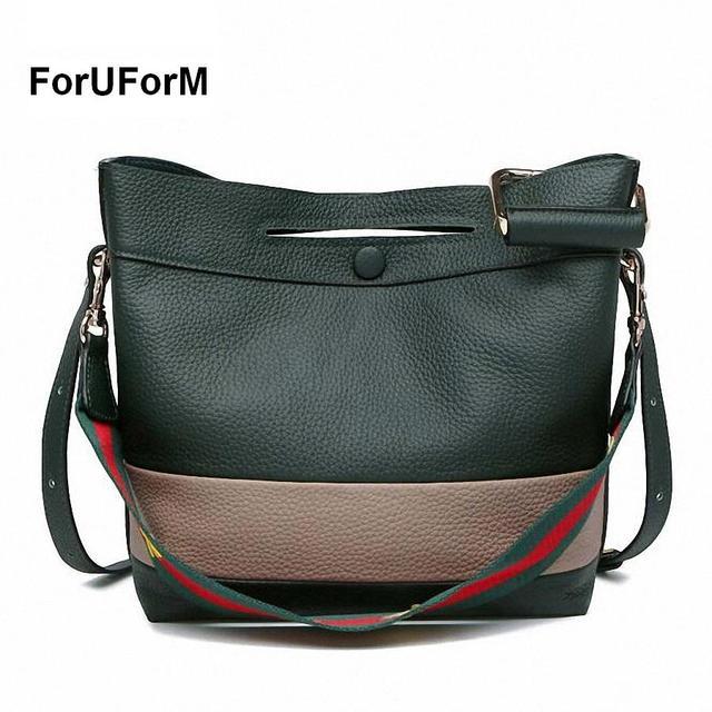 ForUForM Fashion 100% Real Genuine Leather OL Style Women striped Handbag Tote Bag Ladies Shoulder Bags Wholesale price-SLI-183
