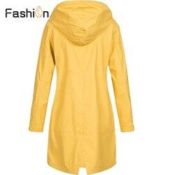 Plus rozmiar 5XL damska solidna kurtka przeciwdeszczowa z kapturem na zewnątrz wodoodporny długi płaszcz kobiety płaszcze przeciwdeszczowe długie piesze wycieczki kurtki z kapturem 2019 5