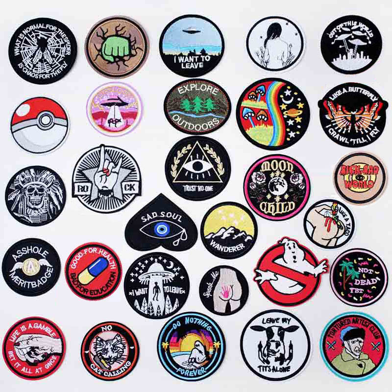 Round Black UFO Alien Eye Iron On Patches Sewing Embroidered Applique For Jacket Clothes Stickers Badge DIY Apparel Accessories