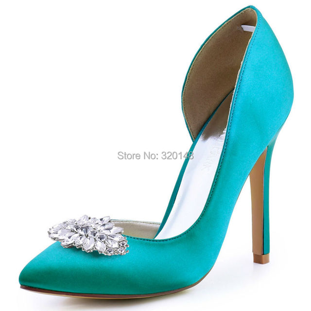 Woman shoes Teal High Heels Pointed Toe Satin Bride Bridesmaids Wedding Bridal Evening Dress Prom Pumps HC1601AW Ivory Blue