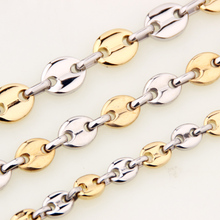 7-40 Long Choose Brand New 100% Stainless Steel 7/9/11mm Mens Coffee Bean Necklace Silver Gold