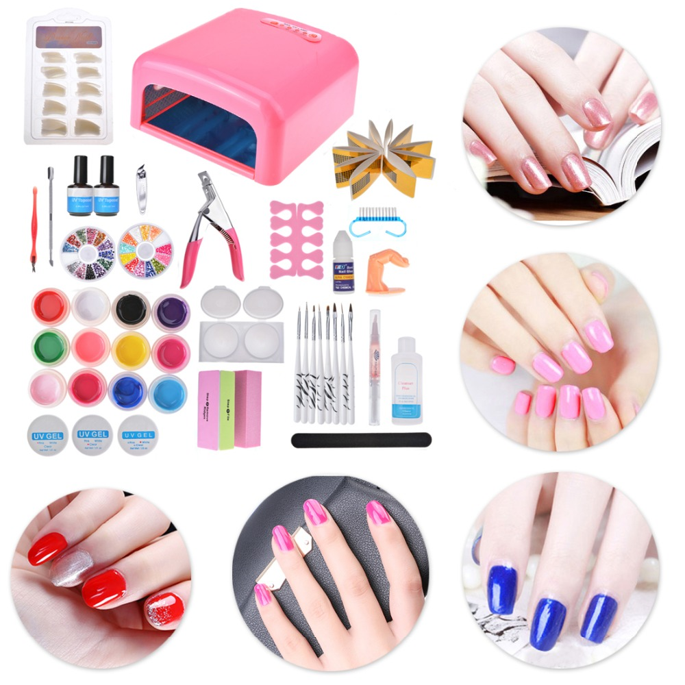 Biutee Pro Nail art set 36W UV GEL Pink/white Lamp & 12 Color UV Gel Extension gel kit Nail Art Brushes Nail Tool Manicure Set decorative 12 color nail art splitter set multicolored