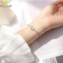 Flyleaf 100% 925 Sterling Silver Natural Stone Moonstone Charm Bracelets For Women Simple Fashion Party Jewelry natural blue moonstone 925 sterling silver drop earrings for women girl 4x6mm oval cut anise star fashion and simple jewelry