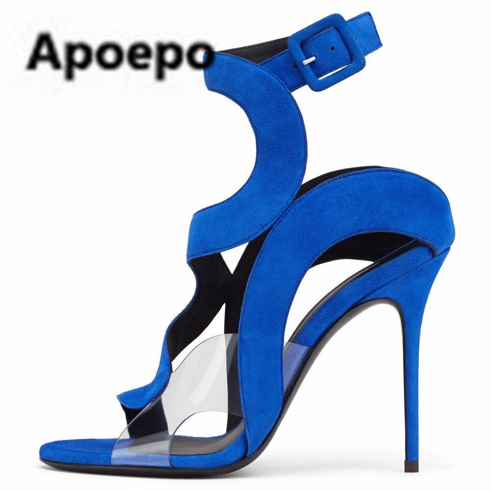 Apoepo pumps women shoes 2018 summer sandals women PVC Transparent mixed colors ladies shoes buckle red blue high heels shoes rhinestone sandals summer shoes women pumps transparent womens shoes heels strappy heels ladies shoes