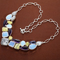 Hot Sale Necklaces&Pendant Jewelry Bridal Natural Opal Gemstone Colorful Created Gemstone Collares Statement Necklace Jewelry