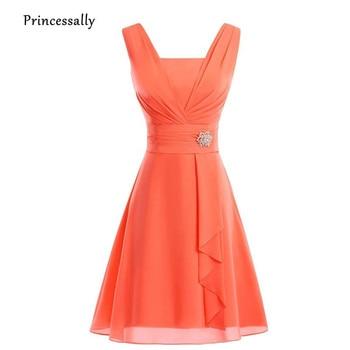 Vestido De novia naranja, novedad, Vestido corto para dama De honor, gasa, plisado, en verde menta y rosado, amarillo, Vestido De fiesta De boda, Vestido De graduación Formal