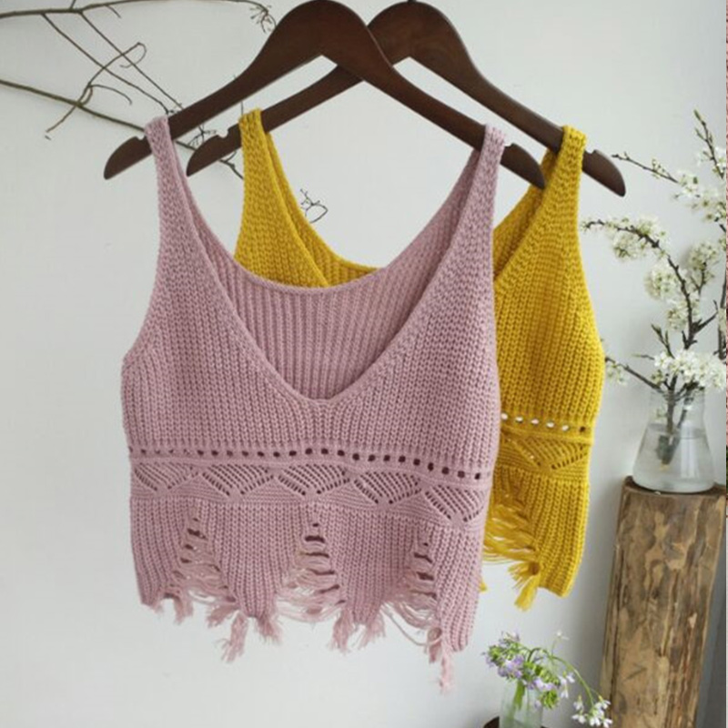 Crop-Tops Knitted Solid-Tassel Fashion Vest V-Neck Backless Female Hollow-Out Summer