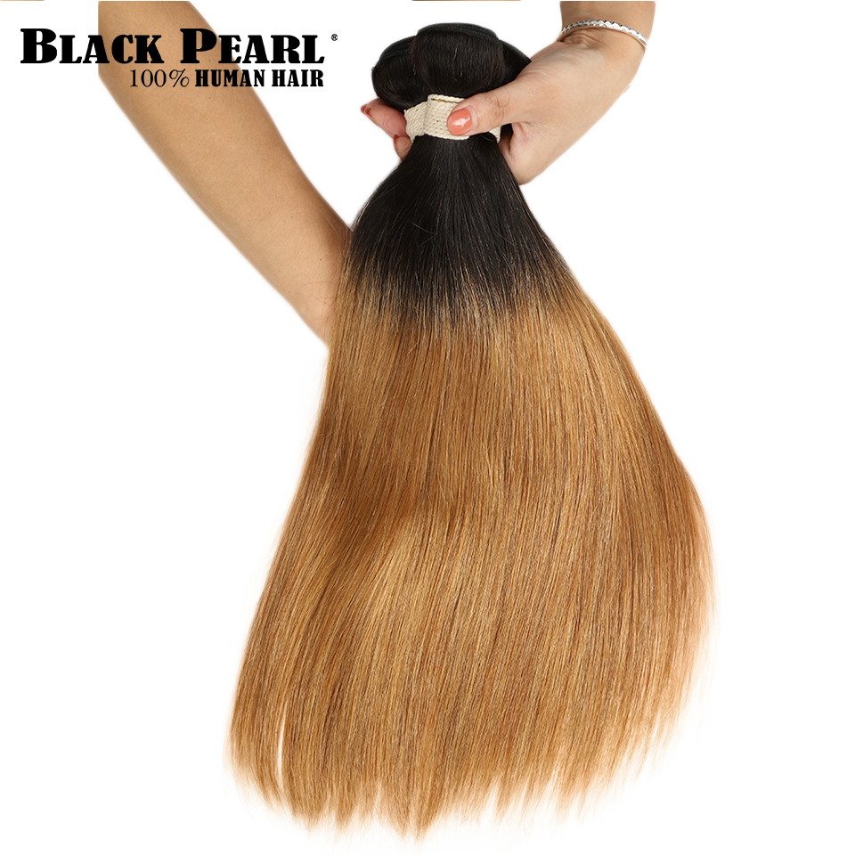 Hair Weaves Black Pearl Ombre Straight Human Hair Bundles 2 Tone Peruvian Hair Bundles Color T1b/27 Non Remy Ombre Hair Bundles Extensions High Safety Hair Extensions & Wigs