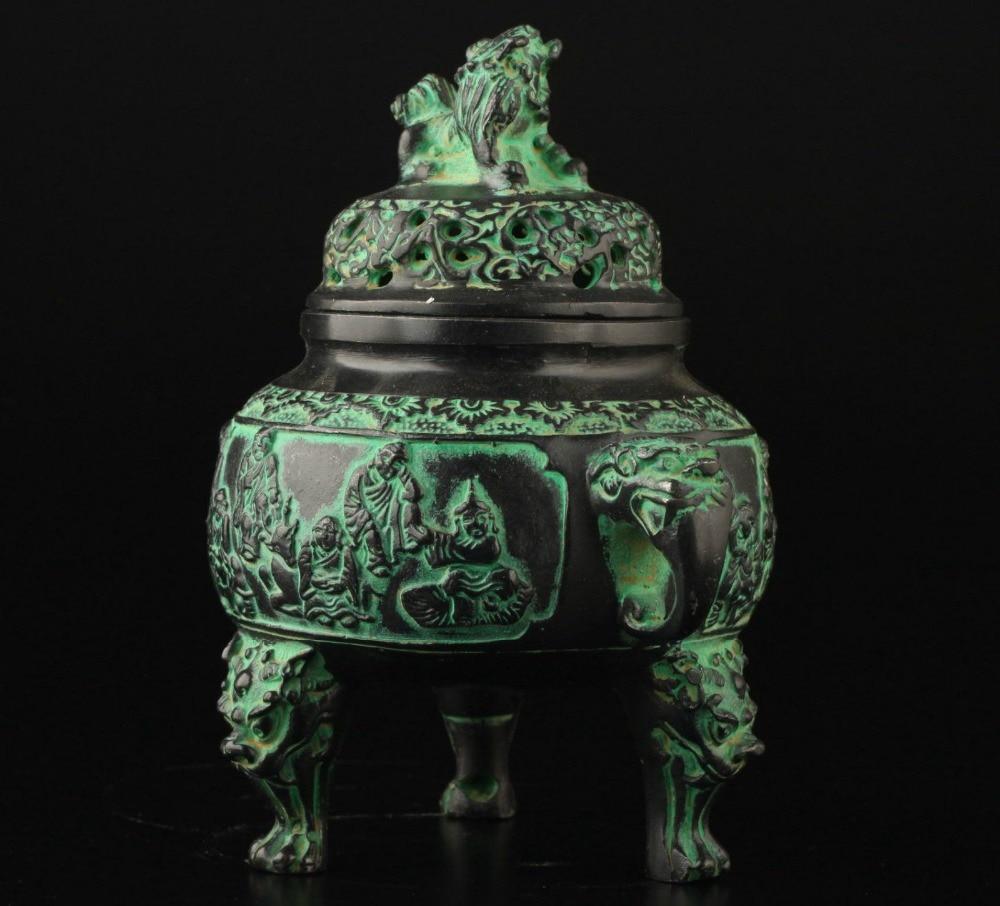 Propracovaná čínská kolekce Vintage Old Bronze Lion Buddha socha kadidlo