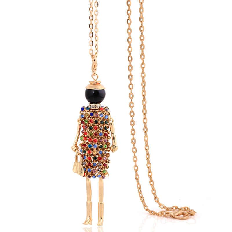 Moda złoty kolor kryształ naszyjnik chunky długi łańcuch kobiety rhinestone chokers bohomain duży kołnierz komunikat charm wisiorki 2019