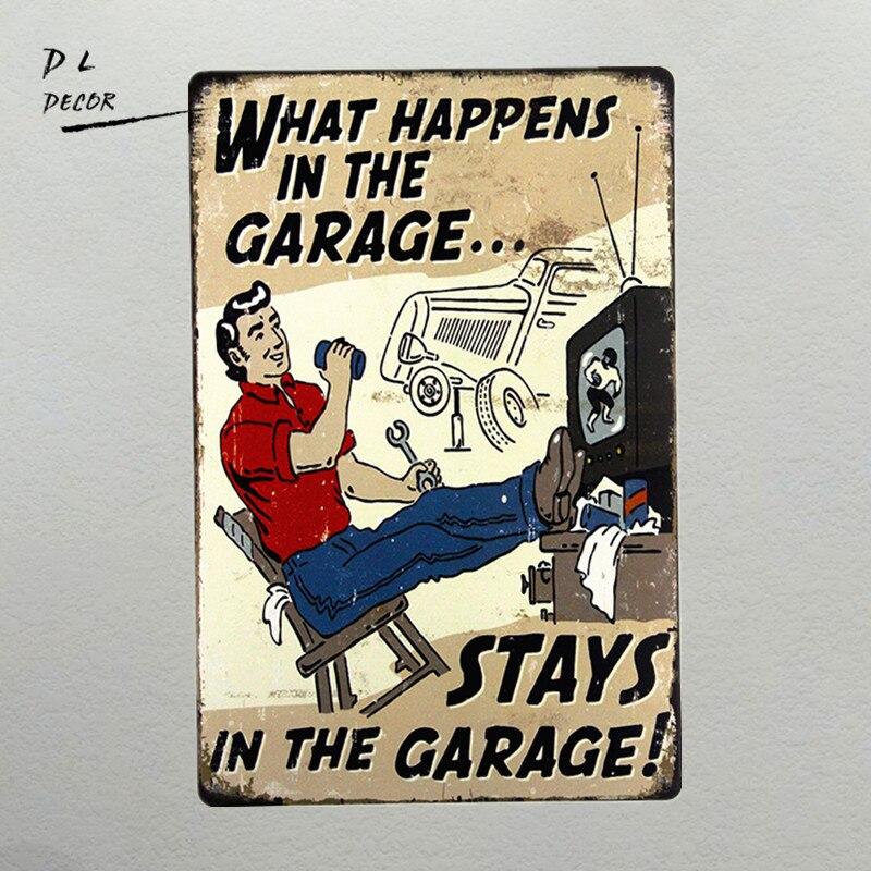 """DL-""""ce qui se passe dans le Garage"""" panneau en étain 8 """"X 12"""" pour le décor mural de Bar, Pub ou homme Cave"""