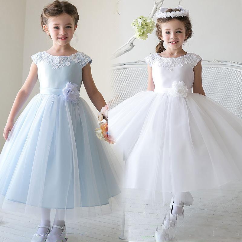 2019   Flower     Girl     Dresses   Charming Crew Short Sleeve Ball Gown Flowergirl   Dresses   Wedding Appliques Handmade   Flower   Bow