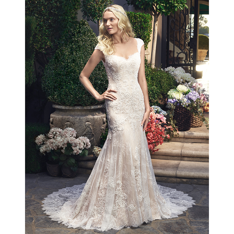 Newest 2017 Mermaid Lace Wedding Dresses Cap Sleeves Beaded ...