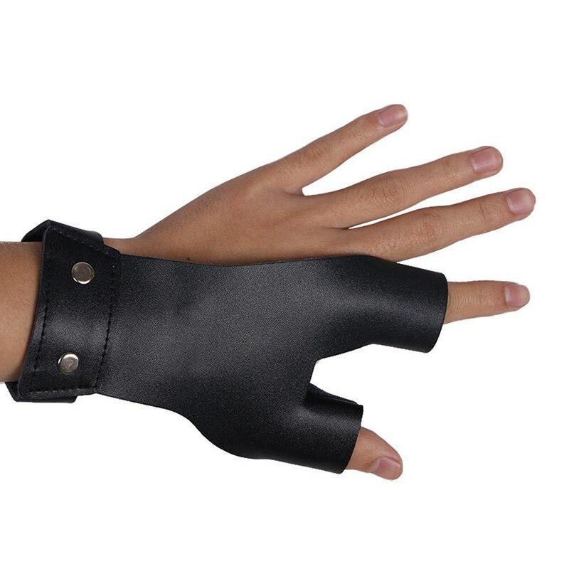 MagiDeal Archery Adjustable 3-Finger Glove Finger Tabs Microfiber Cloth Black