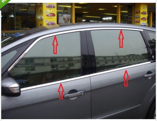 Stainless Stain Window Frame Trim for Ford S-MAX SMAX 2007 2008 2009 2010-2012 abs chrome front grille around trim for ford s max smax 2007 2010 2011 2012